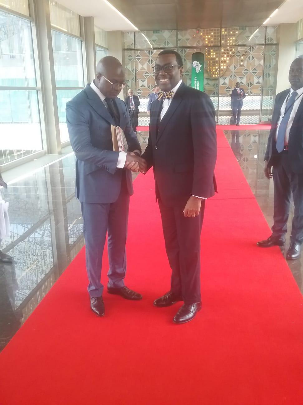 Avec le Président de la Banque Africaine de Développement ,Dr ADESINA ,à la conférence annuelle de l'institution financière à Malabo , 13 Juin 2019
