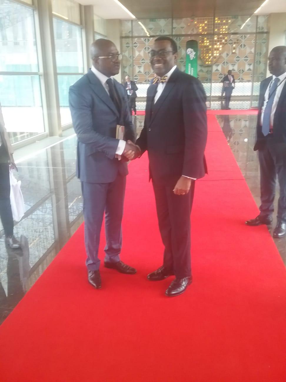 Avec le Président de la Banque Africaine de Développement ,Dr ADESINA ,à la conférence annuelle de l'institution financière à Malabo , 13 Juin 2019.