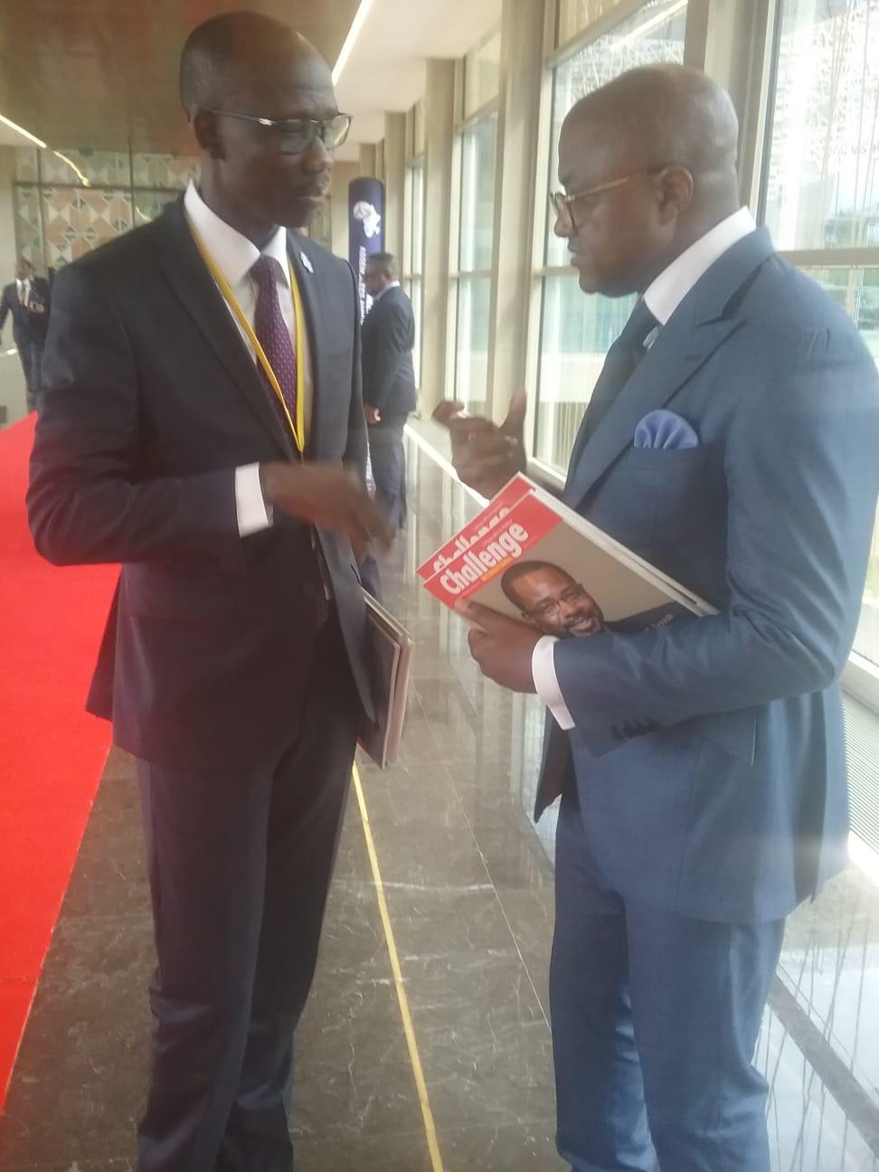Avec le ministre de l'Economie du TCHAD ,ISSA DOUBRAGNE , lors la conférence Annuelle de la BAD à Malabo le 13 juin 2019