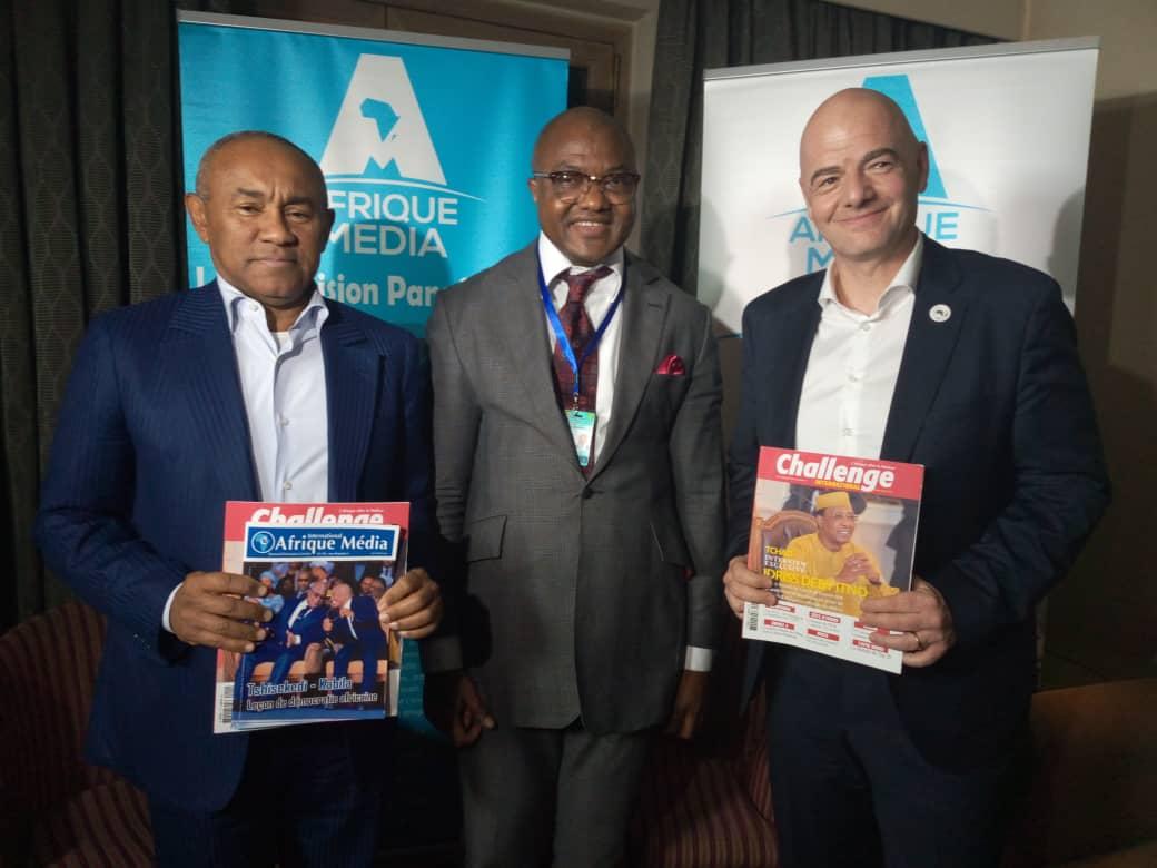 Avec les Présidents de la CAF AHMAD AHMAD et GIANNI INFANTINO de la FIFA. Merci de croire et de croire au TRAVAIL SEIGNEUR MERCI POUR TA GRACE