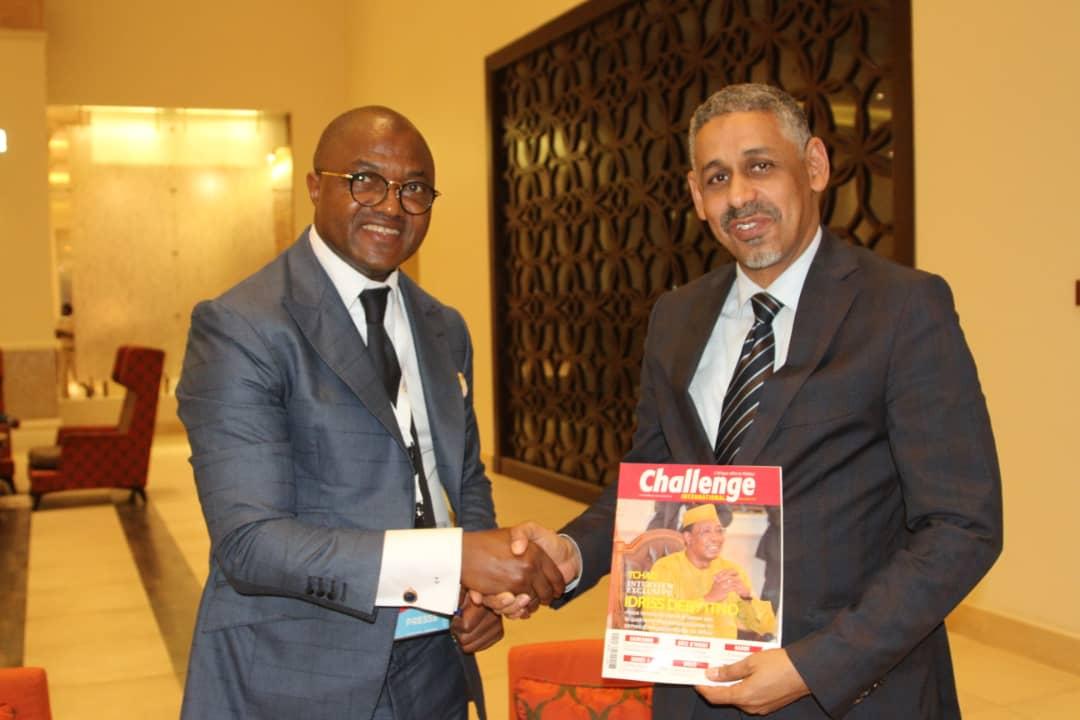 Lors du forum investir au Tchad/monde Arabe, ici avec le Directeur Directeur Général de la Banque Arabe pour le Développement Economique en Afrique(BADEA),Dr Sidi Ould Tah,principal partenaire financier du PND 2017-2021 du Tchad. A la clé : 850 000 000 dlrs pour le financement des grands chantiers prioritaires du Président Déby.