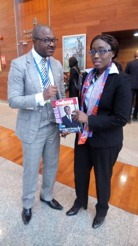 Avec Madame Vera Songwe ,1ère Femme Secrétaire Executive de la Commision Economique de l'ONU  pour l'Afrique,à Addis Ababa au sommet des Chefs d Etat et de gouvernement