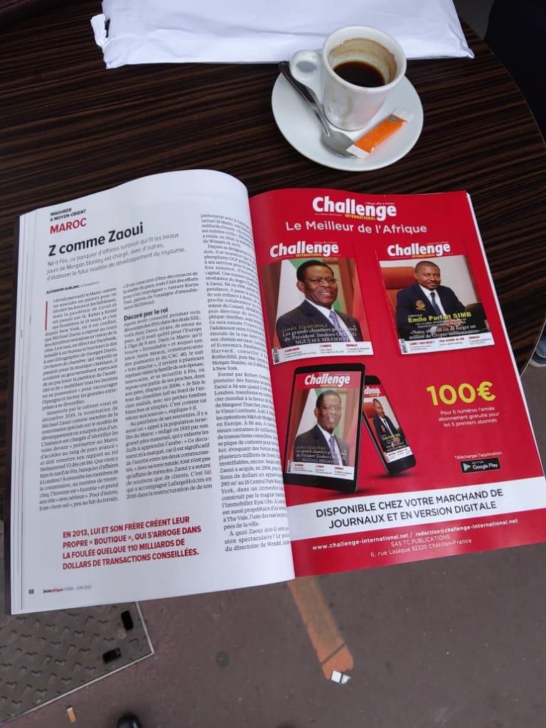Paru ce matin dans Jeune Afrique du mois de Juin. Pleine page consacrée  au double Hors -série de Challenge international qui paraitra en Juillet- Août2020